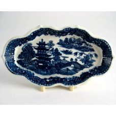 Caughley Rare Spoon Tray, Blue and White 'Pagoda' Pattern Decoration, Elongated Hexagonal Shape, faint 'S' Mark, c1785