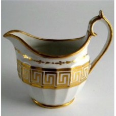 Chamberlain Worcester Milk Jug, 'Hambleton-fluted' Shape, Gold Etruscan Border, Pattern Number 354, c1805