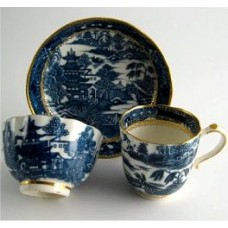SOLD Caughley Scalloped Trio of Tea Bowl, Coffee Can and Saucer, Blue and White 'Pagoda'  Landscape Pattern,  c1785 SOLD