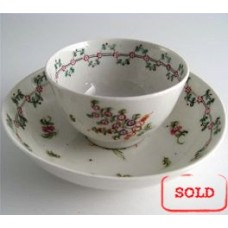 SOLD New Hall Tea Bowl and Saucer, Pattern 161, Stylistic Flower  Sprigs and Bouquet Decoration, Flower and Foliage Garland Border, c1795 SOLD