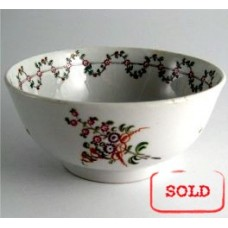 SOLD New Hall Slops Bowl, Pattern 191, Stylistic Flower Sprigs and  Bouquet Decoration, Flower and Foliage Garland Border, c1795 SOLD