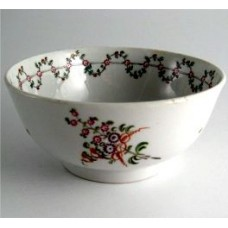 New Hall Slops Bowl, Pattern 191, Stylistic Flower Sprigs and  Bouquet Decoration, Flower and Foliage Garland Border, c1795