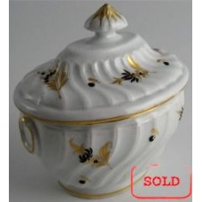 SOLD Chamberlain Worcester Oval Shanked Sucrier and Cover, Brown and Gilt Floral Decoration, Pattern 16, c1795 SOLD