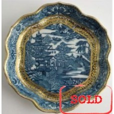 SOLD Caughley Scalloped Hexagonal Teapot Stand, Blue and White 'Pagoda'  Landscape Pattern,  c1785 SOLD