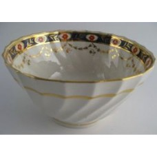 Factory 'X' (Keeling)  Slops Bowl, Shanked body with blue border, red flowers and gilded swags,  pattern 94, c1800-1805