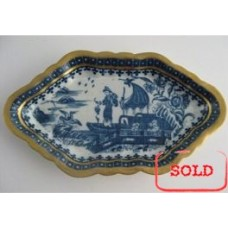 SOLD Caughley Spoon Tray, Decorated in Blue and White with the  'Fisherman and Cormorant' Pattern, c1770 (RESTORED) SOLD