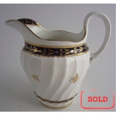 SOLD Flight and Barr Period Worcester Circular Shanked Milk Jug, Blue and Gilt  Decoration with the 'Fly' pattern, c1790 SOLD
