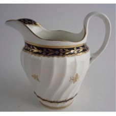 Flight and Barr Period Worcester Circular Shanked Milk Jug, Blue and Gilt  Decoration with the 'Fly' pattern, c1790