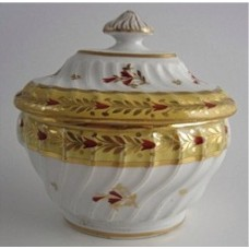 Rare Chamberlain Worcester Yellow Ground Oval Shanked  Sucrier and Cover, Red and Gilt Decoration, Pattern 221, c1800
