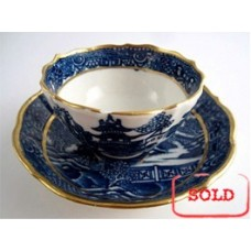 SOLD Caughley Scalloped Tea Bowl and Saucer, Blue and White 'Pagoda'  Landscape Pattern,  c1785 SOLD