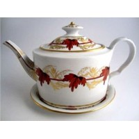 Coalport Oval Teapot and Stand, Red and Gilt Vine Leaf  Decoration, c1800-1805