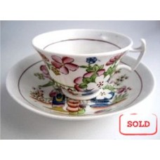 SOLD Hilditch Tea cup and Saucer, decorated with 'Boy Picking  Fruit', c1830 SOLD