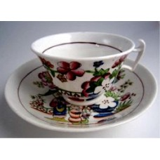Hilditch Tea cup and Saucer, decorated with 'Boy Picking  Fruit', c1830