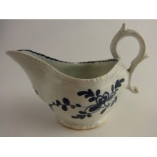 Liverpool or Lowestoft? Moulded Sauce Boat,  Blue and  White Floral Pattern, c1770