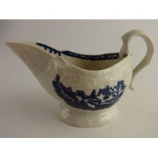 Liverpool 'Pennington?' Moulded Sauce Boat, Oriental Blue and  White scenes, c1780