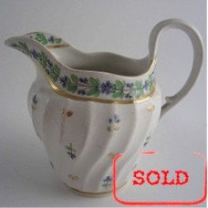 SOLD Worcester Milk Jug, Waisted Shanked Moulded Body, 'Cornflower' Decoration, 'Flight & Barr' period, c1795 SOLD