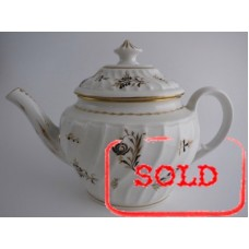 SOLD Coalport 'John Rose' Waisted Spiral Fluted Oval Teapot, 'Brown and  Gilded', Flower Sprig Decoration, c1800 SOLD