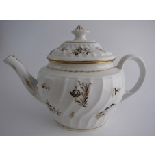 Coalport 'John Rose' Waisted Spiral Fluted Oval Teapot, 'Brown and  Gilded', Flower Sprig Decoration, c1800