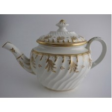 Coalport 'John Rose' Teapot, Waisted Spiral Fluted Oval 'Gilded' Flower Sprig Decoration, c1798