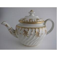 Coalport 'John Rose' Teapot, Waisted Spiral Fluted Oval 'Gilded' Flower Sprig Decoration, c1798