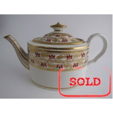 SOLD Coalport 'Thomas Rose, Hand Painted Smooth Oval Teapot,  Decorated in Orange and Gilt 'Grape Vine' Bands, c1805 SOLD
