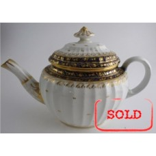 SOLD Coalport 'John Rose' New Fluted Oval Blue and Gilt 'Acorn' Pattern  Teapot, c1798 SOLD