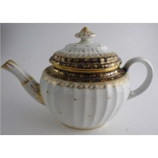 Coalport 'John Rose' New Fluted Oval Blue and Gilt 'Acorn' Pattern  Teapot, c1798