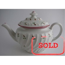 SOLD Coalport 'John Rose' Waisted Spiral Fluted Oval Teapot 'Red and Green Flower Sprig' Decoration, c1798 SOLD