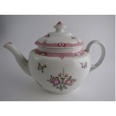 Coalport 'John Rose' Teapot Decorated in 'New Hall' Style with Flower Decoration and Pink Diaper Borders, c1805