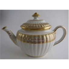Coalport 'John Rose' New Fluted Oval Gilt Teapot, 'Interlinked Ellipses and Dot' Gilt Decoration, c1798