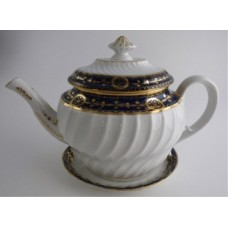 Coalport 'John Rose' Waisted Spiral Fluted Oval Blue and Gilt Decorated Teapot and Stand, c1798