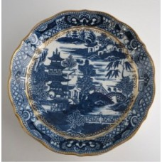 Caughley 'Cake' or 'Bread and Butter' Plate, Blue and White 'Pagoda' Pattern, Salopian 'Sx' mark, c1785