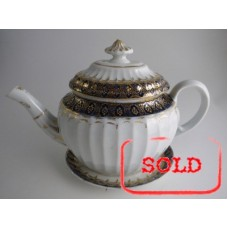 SOLD Coalport 'John Rose' New Fluted Oval Blue and Gilt Decorated Teapot and Stand, c1798 SOLD
