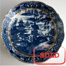 SOLD Caughley 'Cake' or 'Bread and Butter' Plate, Blue and White 'Pagoda' Pattern, Salopian 'Sx' mark, c1785 SOLD