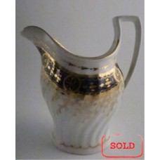 SOLD Chamberlains Worcester Jug with Oval Shanked and Waisted body, Blue and Gilt Decoration, Pattern no. 60, c1795-1800 SOLD