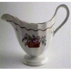 New Hall Milk Jug, Elegant Reeded Helmet Shape, Decorated with a Colourful Basket of Flowers, Pattern 112, c1795