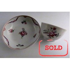 SOLD New Hall Tea Bowl and Saucer, Floral Decoration, Pattern 139, c1785-90 SOLD