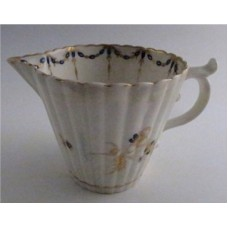 "Caughley Milk Jug with Tapering Cylindrical Fluted Body, decorated with ""Dresden Sprigs and Festoon Border"", c1790"