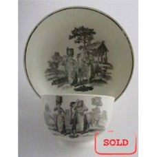 SOLD Worcester ' First Period' Tea Bowl & Saucer, transfer printed with 'Milkmaids' pattern, c1780 SOLD