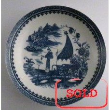 SOLD Caughley large sized plate, beautifully decorated with the transfer printed blue and white 'Pleasure Boat' or 'Fisherman and Cormorant' pattern, c1785 SOLD