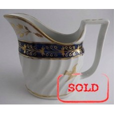 SOLD Coalport Oval Shanked Milk Jug, Blue and Gilt Decoration with 'Gilded Thistle', c1800 SOLD