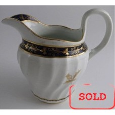 SOLD Worcester Circular Shanked Milk Jug, Blue and Gilt Decoration with 'Gilded Thistle', c1795 SOLD