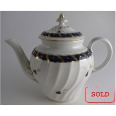 SOLD Worcester Circular Shanked Teapot, Blue and Gilt Decoration with 'Bluebell pattern', c1795 SOLD