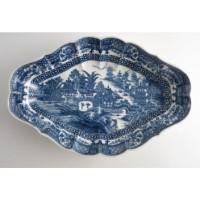 Caughley Melon Shape Printed Underglaze Blue 'Full Nankin' Dish, c1785