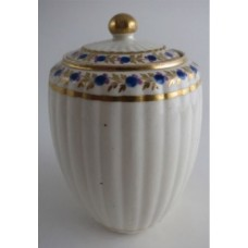 SOLD Caughley Tea Canister, New Fluted Barrel Shape, Stylised Blue and Pink Flowers and Gilded Foliage Decoration, c1790 SOLD