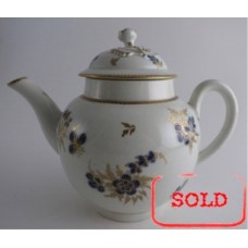 SOLD Worcester Teapot and Cover with Flower Finial, Decorated in Underglaze Blue with Formal Flowers, Honey Gold Leaves and Stems, Gold Dentil Rims, c1785 SOLD