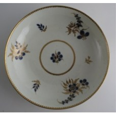 Worcester 'Bread and Butter' or 'Cake' Plate, Decorated in Underglaze Blue with Formal Flowers, Honey Gold Leaves and Stems, Gold Dentil Rim, c1785