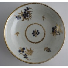 Worcester Saucer, Decorated in Underglaze Blue with Formal Flowers, Honey Gold Leaves and Stems, Gold Dentil Rim, c1785