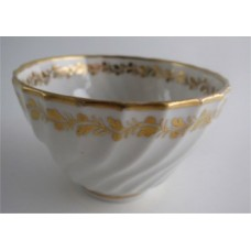 Coalport Spiral Shanked Tea Bowl, Gilded Leaf Garland Decoration, c1800