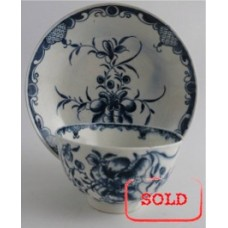 SOLD First Period Worcester Tea Bowl and Saucer, Painted Underglaze Blue with the 'Mansfield' Pattern, c1765-75 SOLD